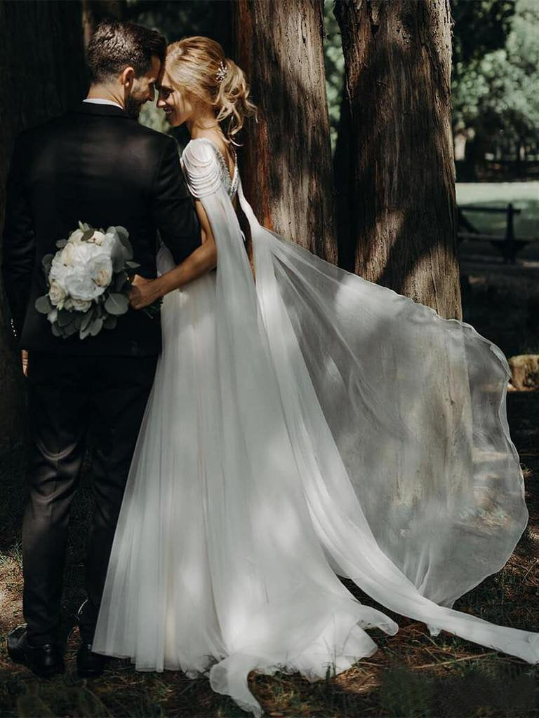 Unique Scoop Tulle Beads Chiffon Ivory V Back Long Wedding Dresses Beach Wedding Gowns