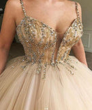Unique Spaghetti Straps V Neck Beads Ball Gown Tulle Prom Dresses Quinceanera Dresses