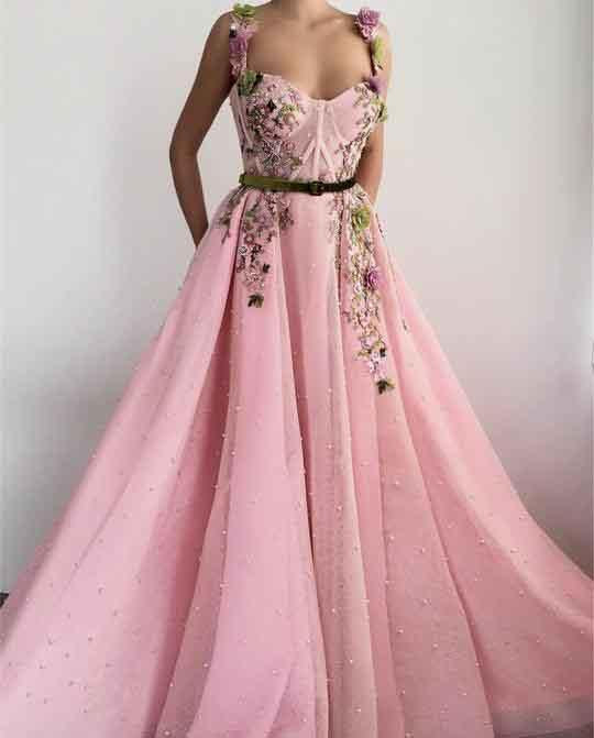 Unique Sweetheart Spaghetti Straps Prom Dresses with Flowers Pockets