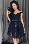 V Neck Navy Blue Straps Beads Lace Homecoming Dresses Short Prom Dresses