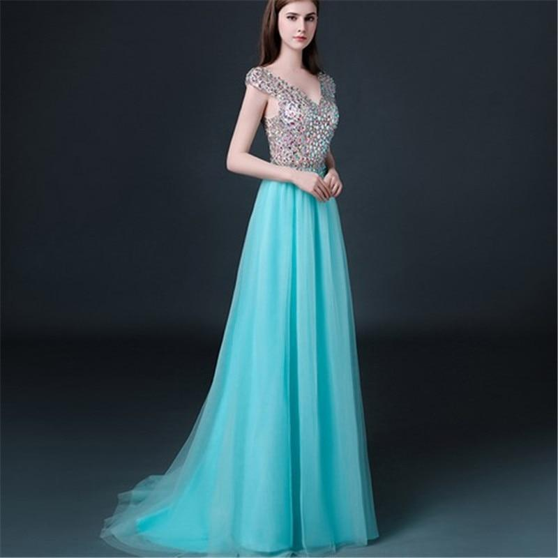 Unique Custom Ball Gown Long Scoop Backless Beaded Bodice Tulle Long Prom Dresses