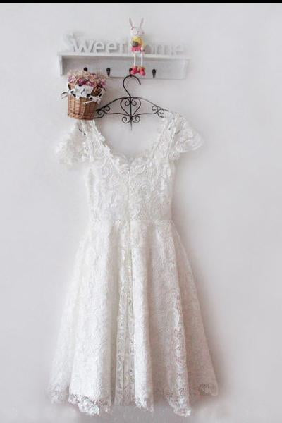 Vintage Ivory Short Lace Short Prom Homecoming Dresses Scoop Appliques Bridesmaid Dress