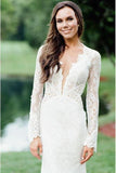 Vintage Long Sleeve Deep V Neck Mermaid Lace Wedding Dress Ivory Backless Bridal Dress