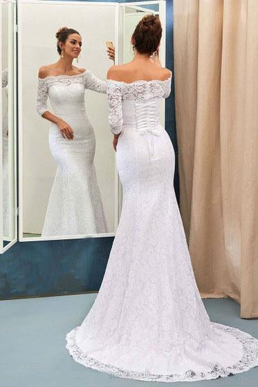 Mermaid Off-the-Shoulder Lace Sweep Train 3/4 Sleeve Top Lace-up Wedding Dresses