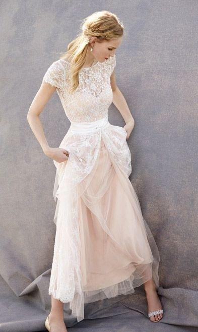 Lovely Blush Pink Tulle Lace Bridal Dress Cap Sleeves Sleeveless Wedding Dress