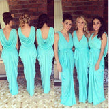 New Arrival Chiffon Blue V-Neck Long Bridesmaid Dress