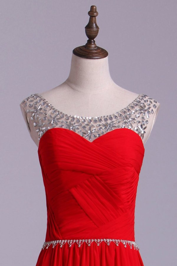 Scoop Prom Dresses A Line Chiffon With Beads PG6SC6HP
