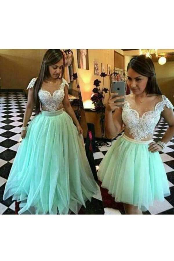 Prom Dresses A Line Tulle With Applique And Beads P1Y9YR78