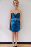Sexy Satin Short Sweetheart Royal Blue Mermaid Strapless Pleat Homecoming Dresses