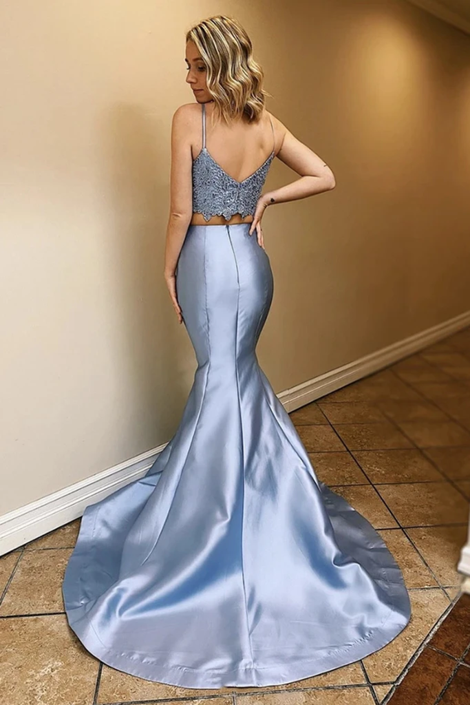 Two Piece Satin Prom Dresses With Lace Spaghetti Straps Mermaid Long Party STKPLPBLEY2