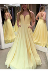 Daffodil Sweetheart Satin Long Prom Dress With STKP5K4ESXD