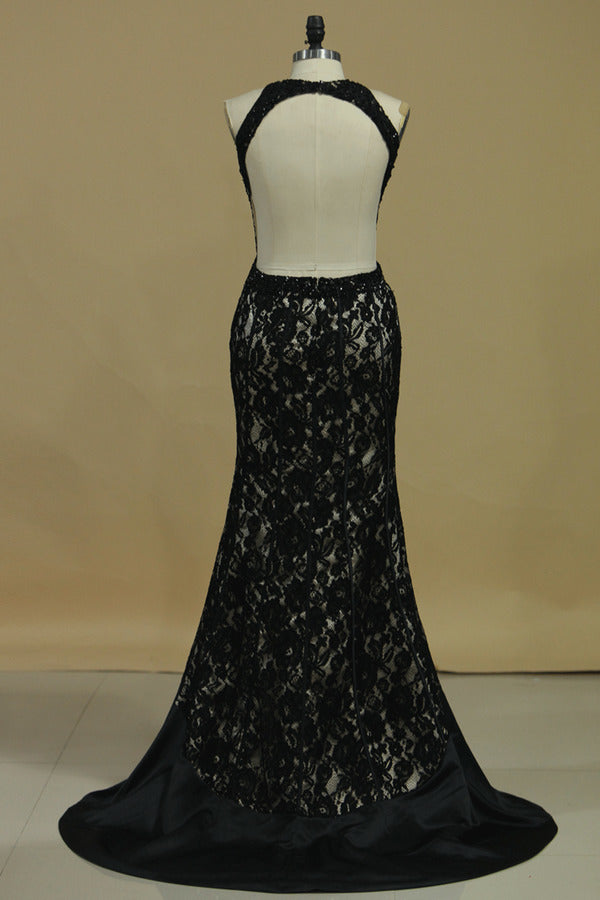 Scoop Open Back Mermaid Lace With Beads PT6K5Q9Y