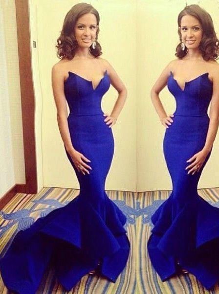 Strapless Mermaid Royal Blue Satin Prom Dresses/Evening Dresses/Formal