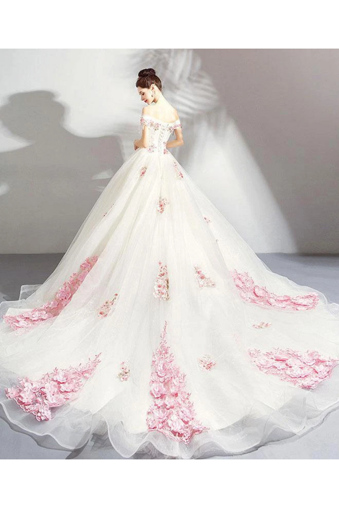 Unique Off The Shoulder Tulle Wedding Dress With Pink Flowers Ball Gown Wedding STKPQ4NB2CL