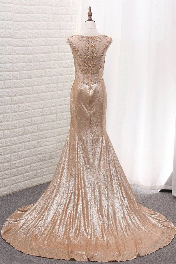 Scoop Mermaid Sequins Prom Dresses PBQ8XPLH