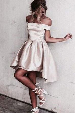 Sexy Off the Shoulder Light Champagne Prom Dress Short Prom Dresses Homecoming Dress