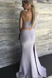 Sexy Mermaid One Shoulder Grey Slit Satin Long Zipper Prom Dresses