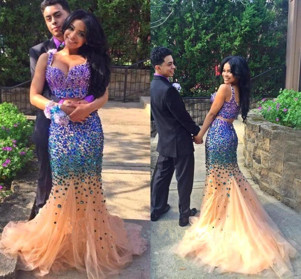 Sexy Elegant Mermaid Tulle Crystals Two Pieces V-Neck Luxurious Long Prom Dresses