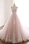 Unique A Line Pink Sweetheart Tulle Spaghetti Straps Long Lace Prom Dresses