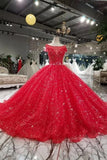 Red Wedding Dresses Tulle Long P45DMD4Y