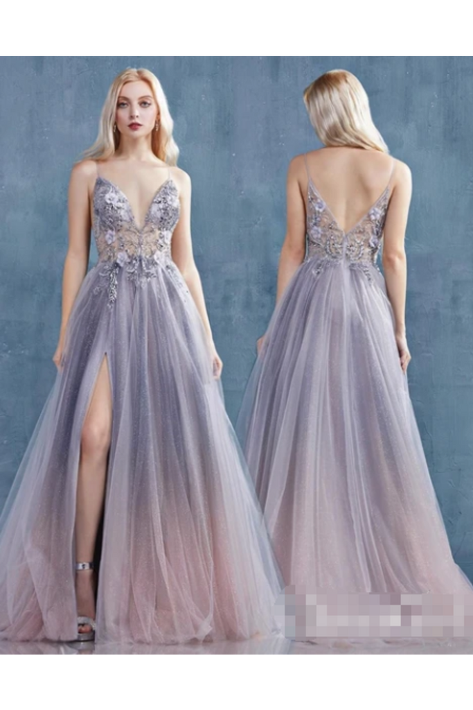 See Through Jeweled Glitter A-Line Prom Dress With High Slit Deep V Neck Long Formal STKPX9EQ898