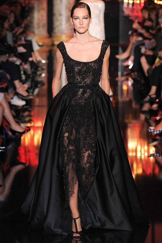 Luxury Pearls Prom Dresses Split Spaghetti Black Lace Formal Dresses Evening Gown