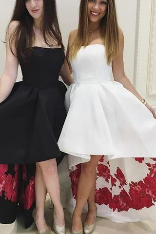 Strapless High Low Black Formal Evening Dress White Prom Dress Homecoming Dress