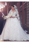 A Line Round Neck Tulle Wedding Dresses With Appliques Wedding STKPYP3F2BA