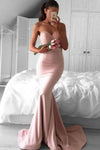 Stunning Sweetheart Sweep Train Pink Mermaid Prom Dress Lace