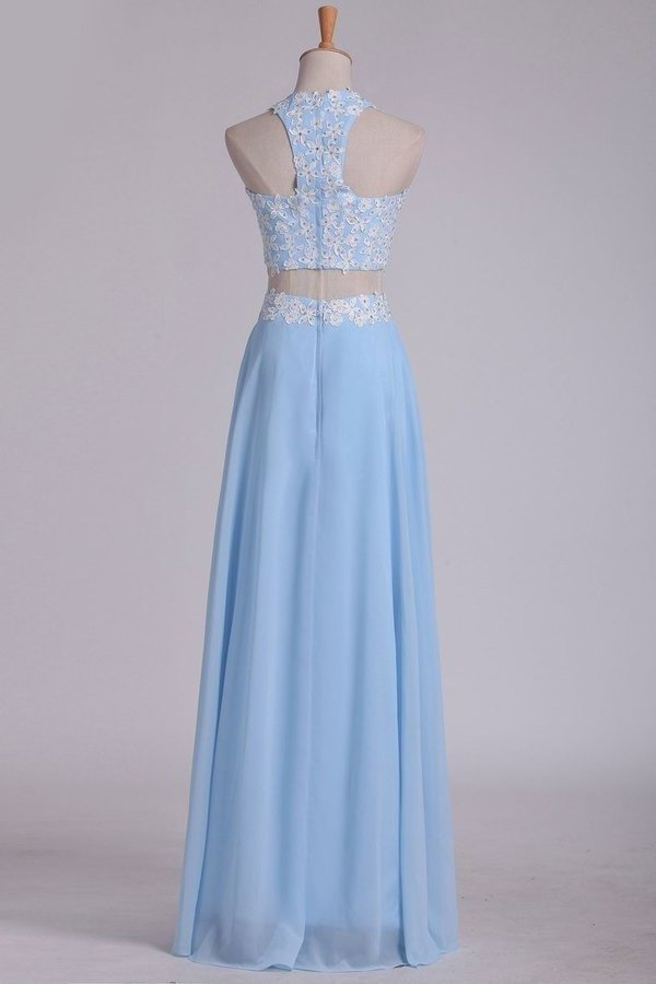 2020 A Line Halter Two Pieces Chiffon With Applique Prom P5E89LSN