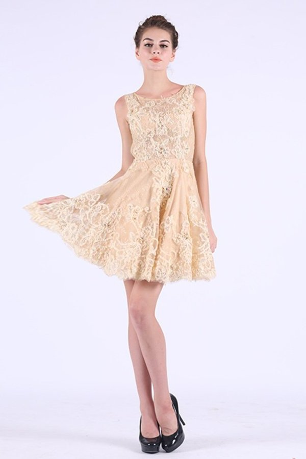 Scoop Homecoming Dresses A Line Tulle PC5K3A2E