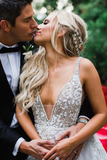 Elegant A Line Illusion Beads V Neck Tulle Long Backless Wedding Dresses Prom STKP8CG9KC9