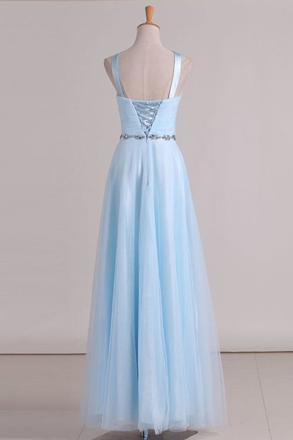 2020 Tulle Straps Bridesmaid Dresses A Line With Ruffles And Beads P64CNTEH