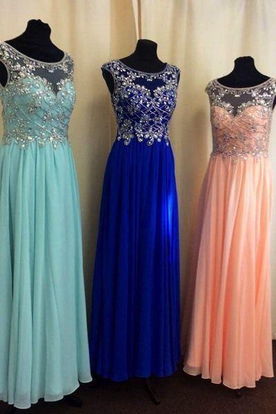Real Made A-Line Beading Chiffon Real Made Prom Dresses