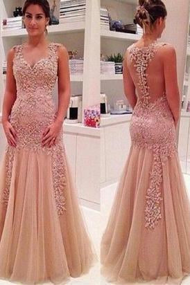Sexy Mermaid V Neck Champagne Backless Long Prom Dresses