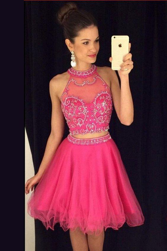Hot-selling Jewel Short Two Piece Rose Homecoming Dress with Beading