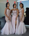 Mixed Style Long Lace Appliques Mermaid Tulle Blush Pink Long Bridesmaid Dresses