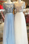 Tulle Scoop Neck A-line Floor-length with Beading Two Piece Short Sleeve Prom Dresses