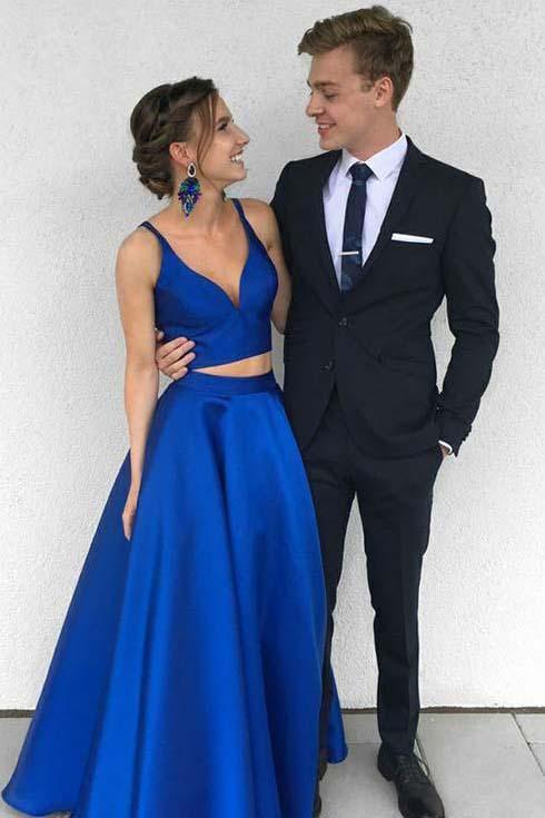 Sexy Royal Blue Two Piece Long Simple Satin Blue V-Neck Formal Evening Prom Dresses