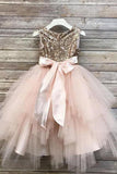 Princess A Line Gold Sequin Round Neck Blush Pink Cute Tulle Baby Flower Girl Dress