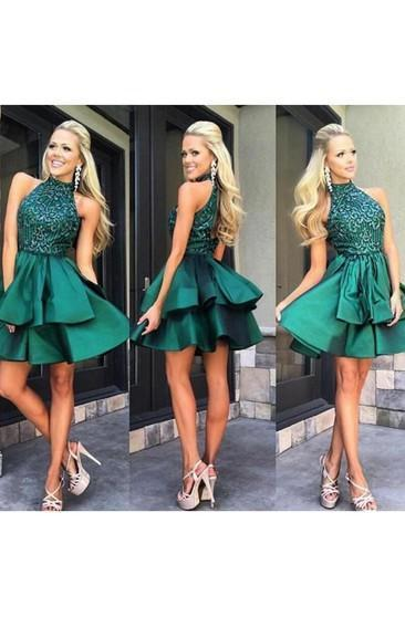 Pretty A-line High Neck Above-knee Beaded Dark Blue Backless Short Homecoming Dresses