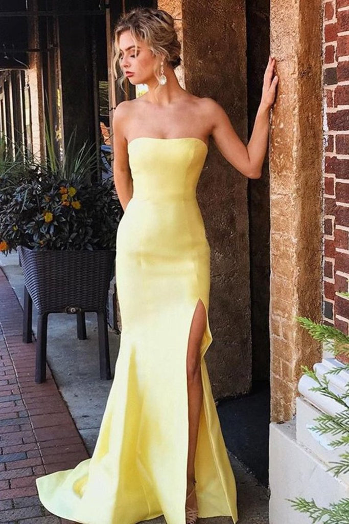 Strapless Split Long Party Dress Sexy Simple Mermaid Prom STKPGY55N67