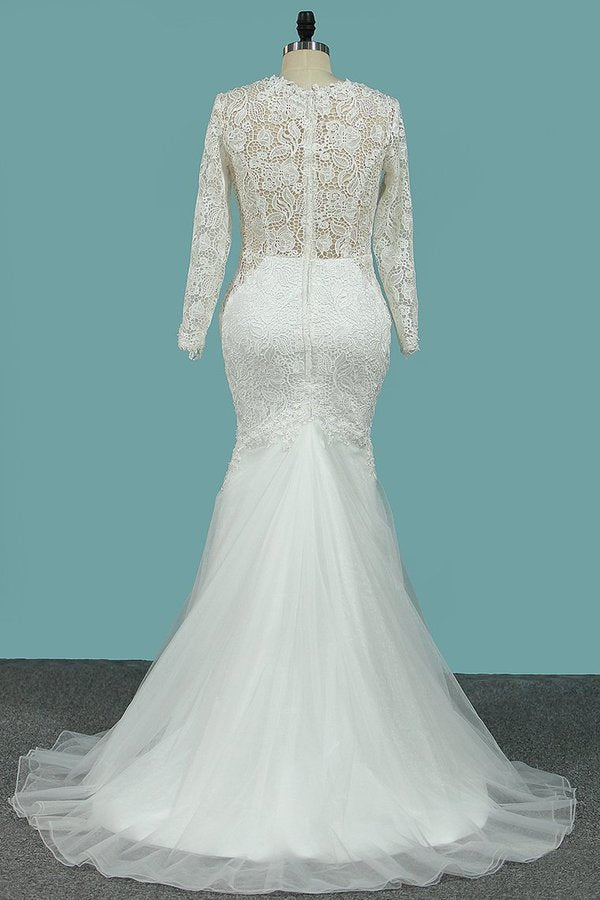 Scoop Long Sleeves Sheath Wedding Dresses Tulle & Lace With PTYR7ZMZ