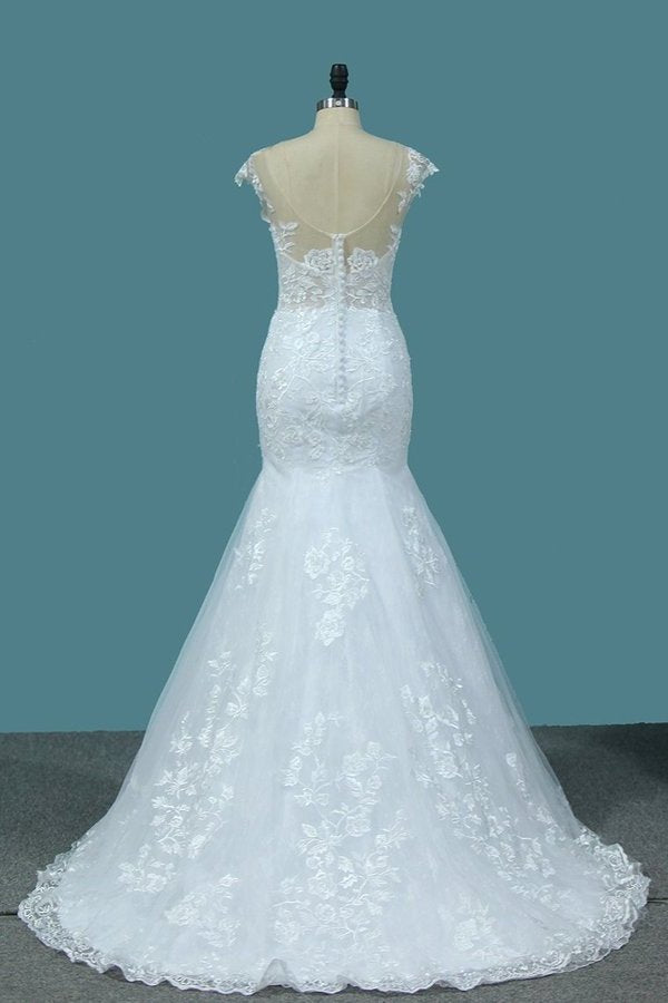 Scoop Open Back Lace Wedding Dresses P18D6JXG
