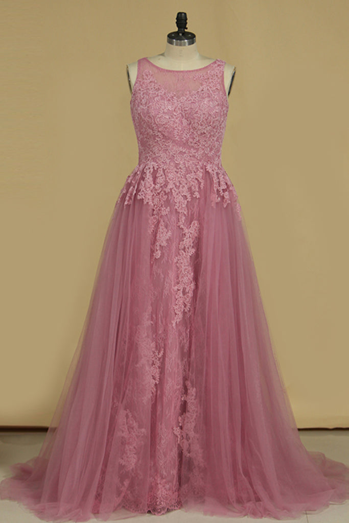 Sheath Scoop Lace & Tulle Evening Dresses With Applique Sweep STKPGL3MA6T