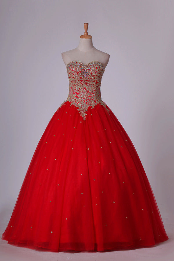 2020 Sweetheart Quinceanera Dresses Ball Gown Tulle With Beads & Applique Floor PC4T2216