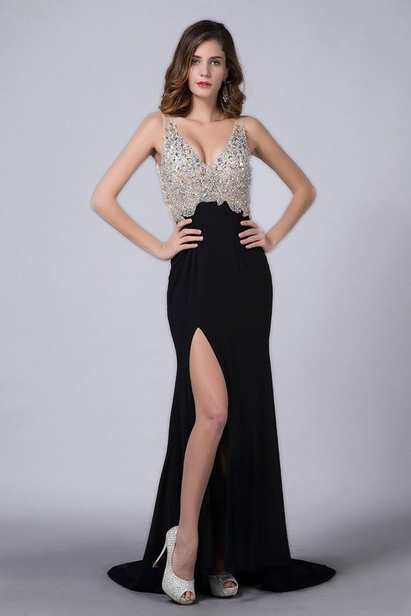 2015 Full Beaded Tulle Bodice Backless Sexy Prom Dress Court Train PPRDS3M5