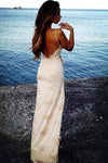 Spaghetti Straps Sweetheart Split Front Backless Lace Mermaid Appliques Prom Dresses
