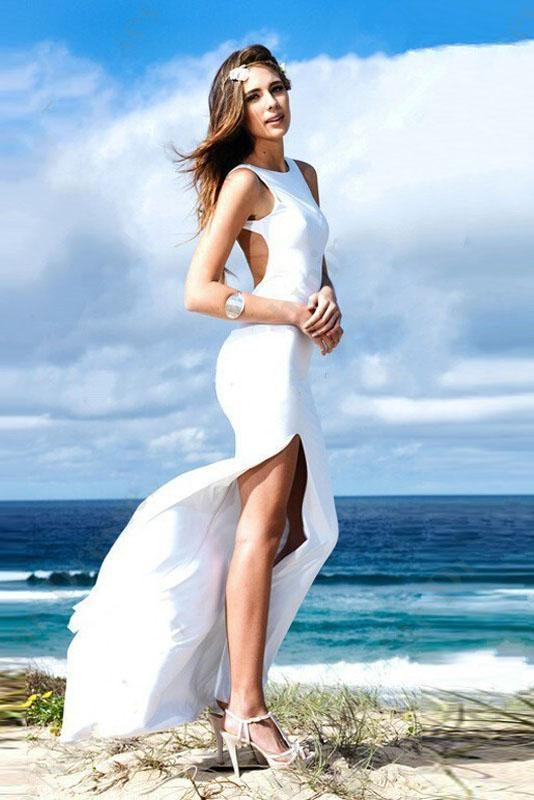 White Sexy Backless Side Split Sweep Train Scoop Chiffon Cheap Sheath Mermaid Prom Dresses