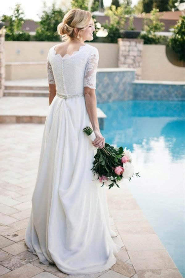 Lace A-Line Beading Ivory Scoop Chiffon Half Sleeve Floor-Length Wedding Dresses